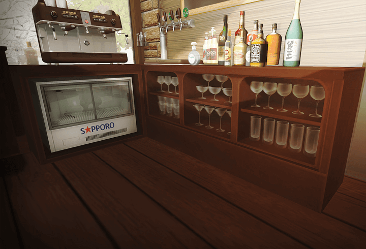 セカンドライフ バーの棚とグラス
