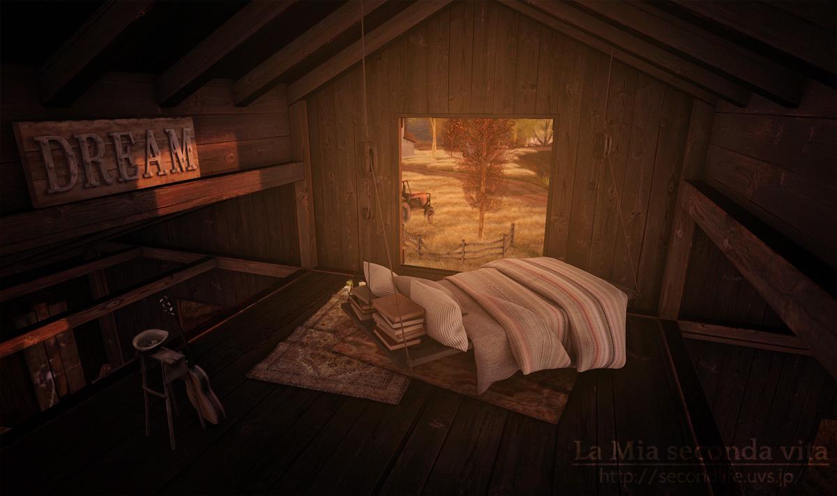 secondlife-Kaleidoscope05 セカンドライフ 納屋の中のベッドルーム