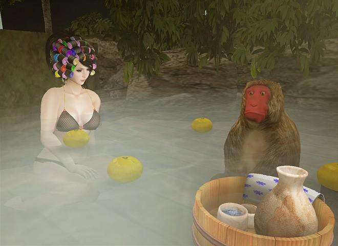 セカンドライフのアバターあるある 「お猿と温泉」